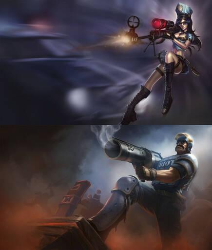 La misma skin puede tener un aspecto muy diferente en personajes masculinos y femeninos de 'League of Legends', como esta de policía de Caitlyn y Graves.