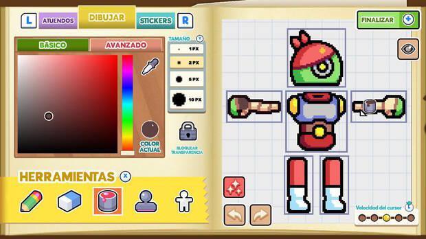 Podemos crear nuestro personaje desde cero pudiendo utilizar diferentes plantillas y stickers, que se pueden ir ampliando a medida que avanzamos.