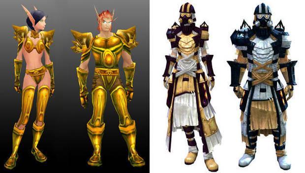 A la izquierda, la armadura Glorious original en personaje masculino y femenino de 'World of Warcraft'. A la derecha La Forjador ligera para ambos sexos en 'Guild Wars 2'.