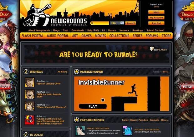 'Invisible Runner' en el portal de Newgrounds.