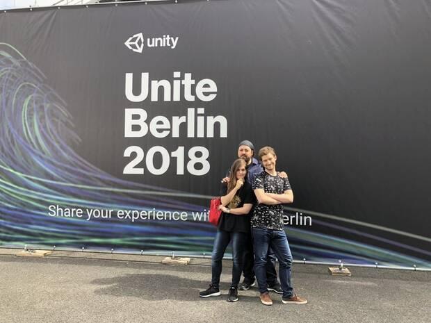 Elena y Daniel Candil y Gerard Barreras presentaron un proyecto en Unite Berlin 2018.
