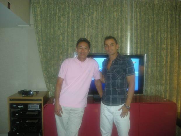 Manuel con Kaz Hirai, por entonces presidente de Sony Computer Entertaiment, en el E3.