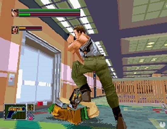 El uso del entorno 3D permitió a Uchida y su equipo jugar con diferentes ángulos de cámara. Aquí tenéis a John esposando a un terrorista.