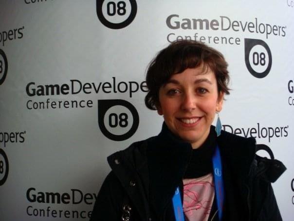 La entrevistada en su primera Games Developer Conference, la de 2008, en San Francisco (EE.UU.).